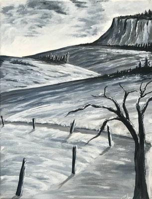 peinture paysage campagne 40 X 30