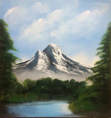 peinture paysage montagne 50 X 50