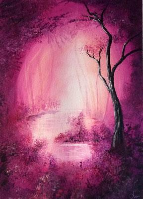 peinture paysage arbre 30 X 40