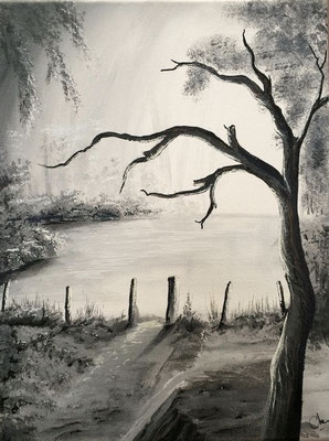 peinture paysage noir et blanc 30 X 40