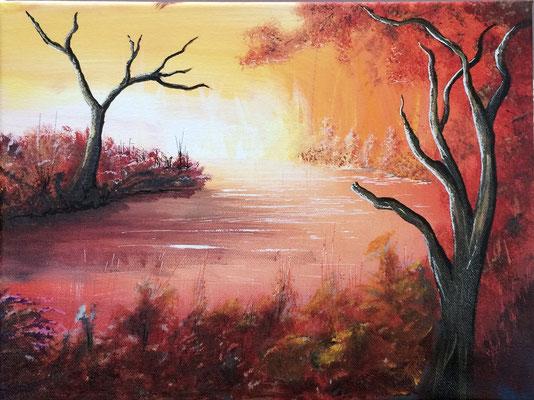 peinture paysage étang 30 X 40