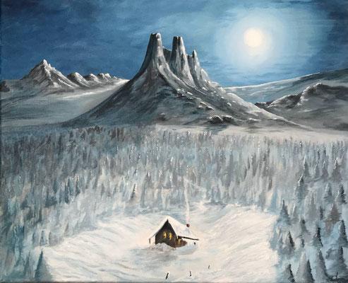 peinture paysage enneigé