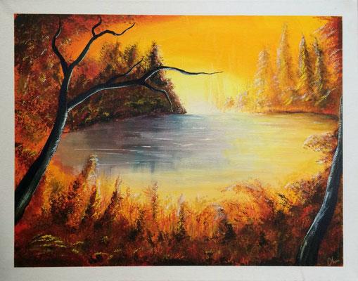 toile peinte à la main paysage 40 X 50