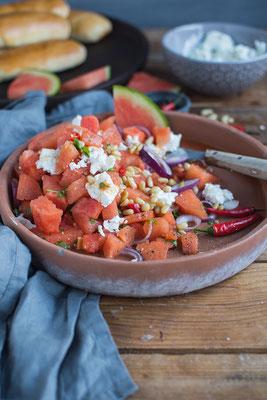Wassermelonen - Feta -Salat; Rezept & Foto: Knusperstübchen
