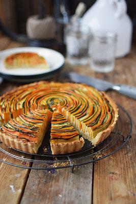 Gemüse - Spiral Tarte; Rezept & Foto: Knusperstübchen