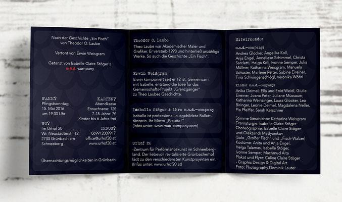 """Wickelfalz-Flyer (innen) für die """"m.a.d.-company"""" und """"urhof20"""" (Konzept/Bildidee, Bildbearbeitung und Layout von mir, Foto von Photography Dominik Lauter)"""