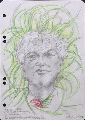 Aus dem Skizzenbuch: Peter Conradi im Lichtwirbel von Rosalie, 2016, Zeichnung, 21 x 15 cm (#818)