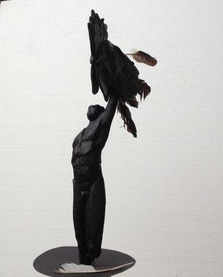 Vogelfrei, Hommage à Günter Grass, 2016, Wachsmodell, Höhe 56 cm (#808)