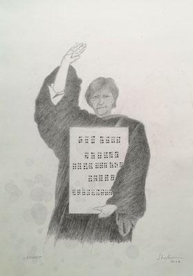 Nichts (Angela Merkel in Harvard), 2019, Zeichnung, 40 x 30 cm (#1035)