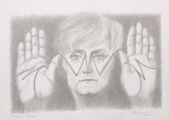 """""""Medium Merkel"""", 2017, Zeichnung, 30 x 21 cm (#921)"""
