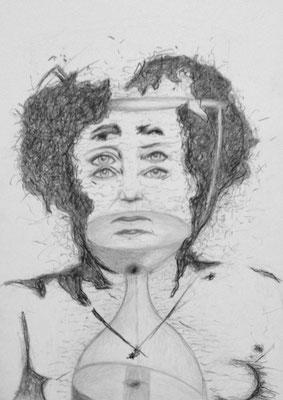 """""""Endzeit"""" (Angela Merkel), 2018, Zeichnung, 40 x 30 cm (#957)"""