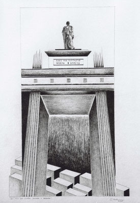 """Brandenburger Torheiten: """"Volk der Dichter, Denker + Henker"""", Zeichnung, 70 x 50 cm, 2005. (380)"""