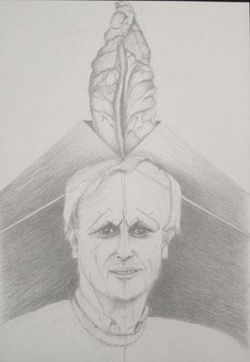 """""""Der größte Kraut von Degerloch"""", 2016, Zeichnung, 40 x 30 cm. Gerhard Raff zum 70. Geburtstag am 13. August 2016 (#835)."""