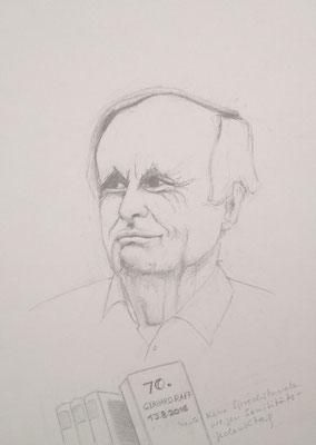 """""""Senilitätstag"""", 2016, Zeichnung, 30 x 21 cm. Gerhard Raff zum 70. Geburtstag am 13. August 2016 (#836)."""