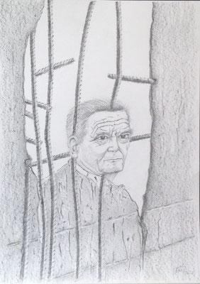 Mauerspecht (Joachim Gauck), 2016, Zeichnung, 70 x 50 cm (#831)