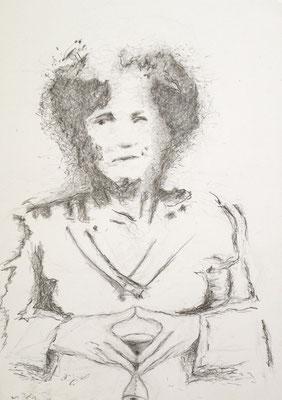 """""""Wackelkandidatin"""" (Angela Merkel), 2018, Zeichnung, 40 x 30 cm (#956)"""