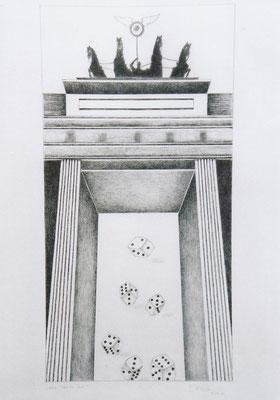 """Brandenburger Torheiten: """"alea iacta est"""", Zeichnung, 70 x 50 cm, 2004. (375)"""