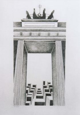 Brandenburger Torheiten: Blockade, Zeichnung, 70 x 50 cm, 2004. (377)