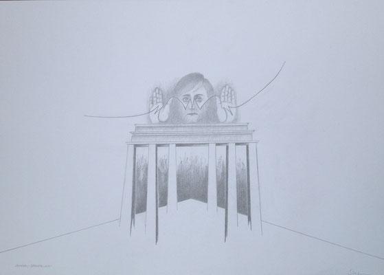 """""""Merkel-Dämmerung II"""", 2018, Zeichnung, 50 x 70 cm (#931)"""