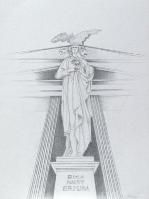 """""""Bigamist"""" I oder """"Bigamisterium"""", Zeichnung von Ursula Stock, 70 x 50 cm, 2011 (#695)"""