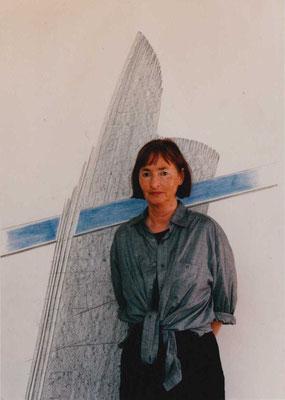 """Selbst vor der Zeichnung """"Blaues Band"""", 1998"""