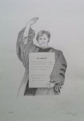 W-M (Angela Merkel in Harvard), 2019, Zeichnung, 40 x 30 cm (#1036)