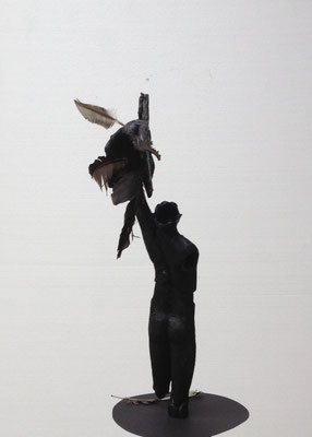 Vogelfrei, Hommage à Günter Grass, 2016, Wachsmodell, Höhe 56 cm (#809)