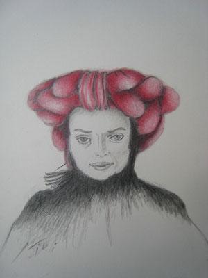 """Niki de Saint Phalle. """"Niki"""", Zeichnung, Höhe x Breite: 20 x 17 cm, 2008. (#430)"""
