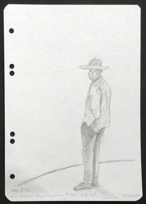 """Aus dem Skizzenbuch: """"Ein schönes Paradies, zum Kotzen schön"""" (Otto Dix über sein Exil in Hemmenhofen am Bodensee), 2016, Zeichnung, 21 x 15 cm (#832)"""