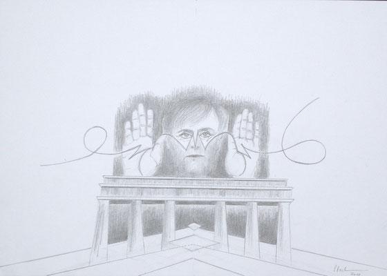 """""""Merkel-Dämmerung I"""", 2018, Zeichnung, 30 x 40 cm (#930)"""
