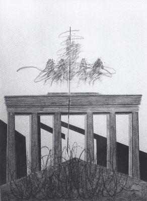 Brandenburger Torheiten: Quadriga zügellos, Zeichnung, 215 x 150 cm, 1995. (384)