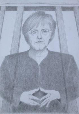 """""""Verspannt im Tor"""", 2018, Zeichnung, 40 x 30 cm (#935)"""