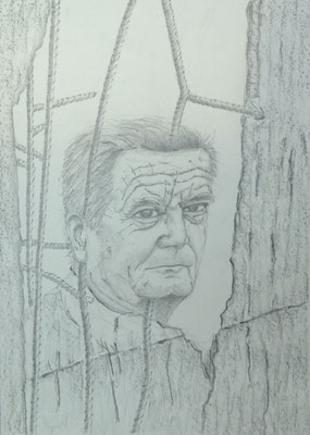 Mauerspecht (Joachim Gauck), 2016, Zeichnung, 40 x 30 cm (#828)
