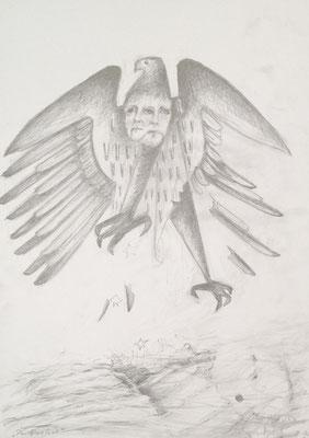 """Im Sinkflug"" (Angela Merkel), 2018, Zeichnung, 40 x 30 cm (#961)"