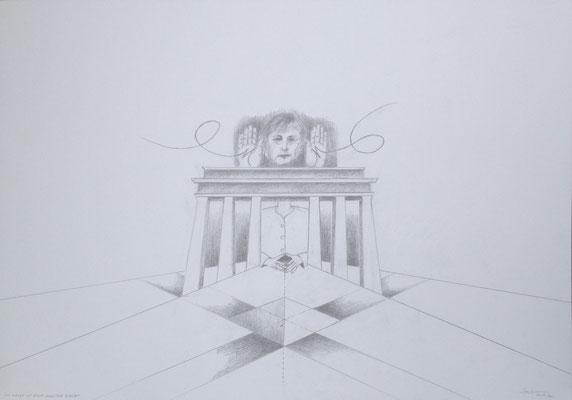 """""""Die Macht ist eine magische Raute I"""", 2018, Zeichnung, 50 x 70 cm (#932)"""