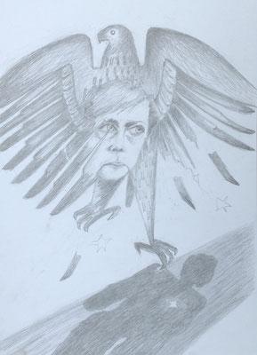 """Im Sinkflug"" (Angela Merkel), 2018, Zeichnung, 40 x 30 cm (#958)"