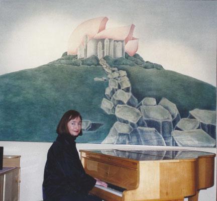 Vor dem Gemälde Schloss Haigerloch im Restaurant Schloss Haigerloch, 1982