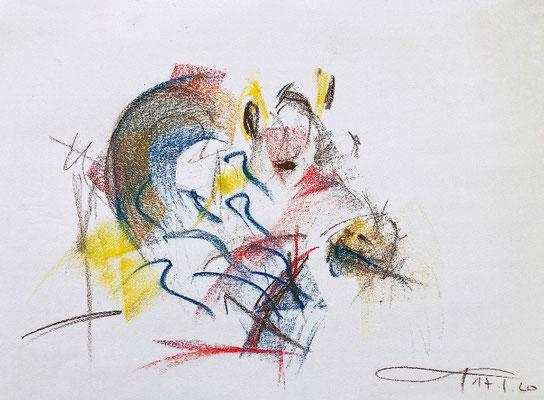 """Buntes Zebra"", Pastellkreide auf Papier, 42 x 59,4, signiert rechts unten, 2020."