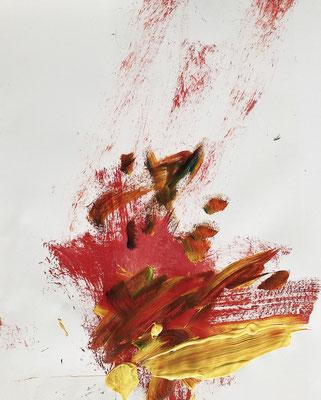 "Aus der Serie ""Affentheater"", Acryl auf Papier, signriert rechts unten, 42 x 59,4, 2020."