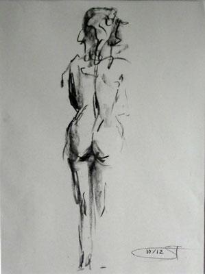 Ohne Titel, Weiblicher Rückenakt, Kohlestift auf Papier, 2013.