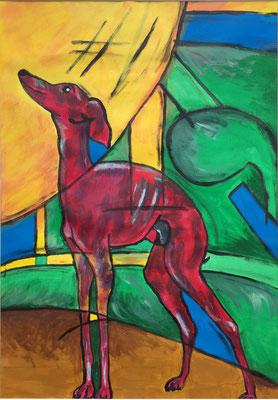 """Hund | Mal anders"", Gouache auf Papier, 41x59 cm, 2011."