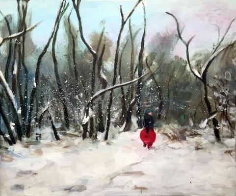 """""""Winterwald"""", Acryl auf Leinwand, 50 x 60 cm, 2017."""