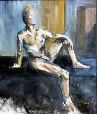 Männlicher Akt, Öl auf Malkarton, 70x60 cm, 2014.