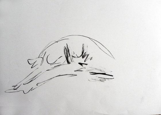 Ohne Titel, Kohlestift auf Papier, 2013.