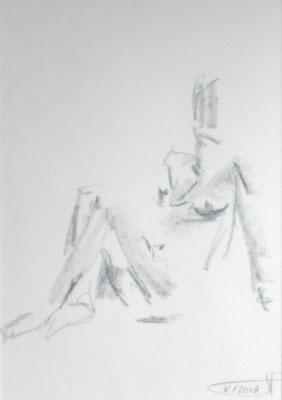 Ohne Titel, Graphitstift auf Papier, 2013.