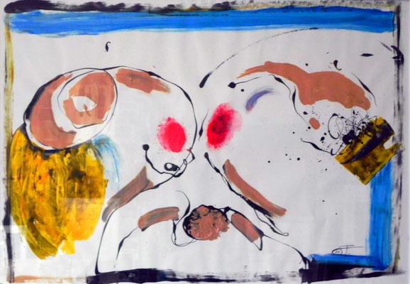 """""""Liberation"""", Gouache auf Papier, 70x100 cm, 2011."""