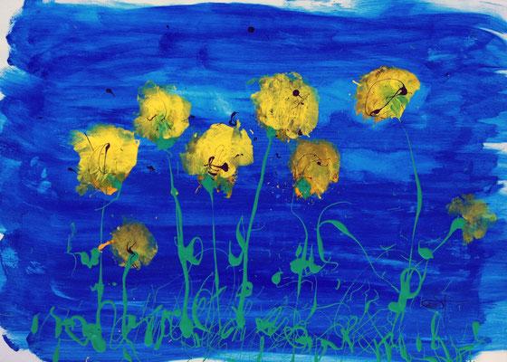 Blumenwiese, Gouache auf Papier, 50x70 cm, 2011.