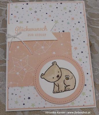 Babykarte Blütenrosa