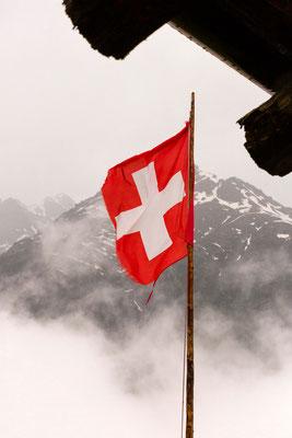 Schweizer Fahne mit Alpen