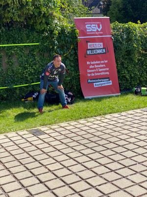 Adrien Ventura als Tormann beim Gewinnspiel des Handballteams SSV Schoren Dornbirn